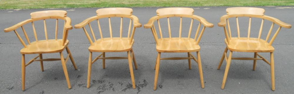 Set of Eight Smokers Bow Kitchen Armchairs
